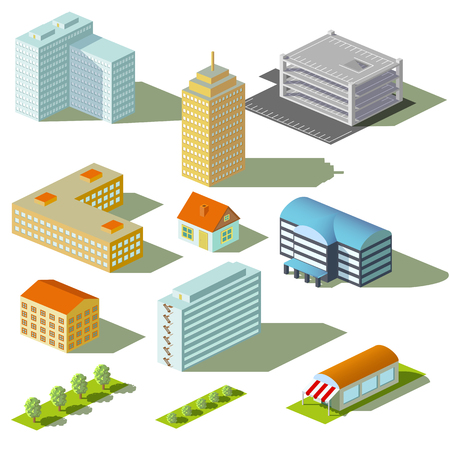 Houses and buildings isolated on white background. Isometric view. Stock vector illustration.