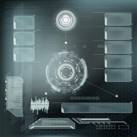 virtual reality simulator: Futuristic user menu interface HUD. Abstract technology background. Stock vector illustration ..