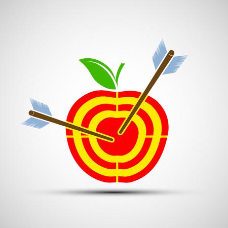 pomme rouge: Cible sous la forme d'une pomme. image de l'icône. illustrations vecteur stock.