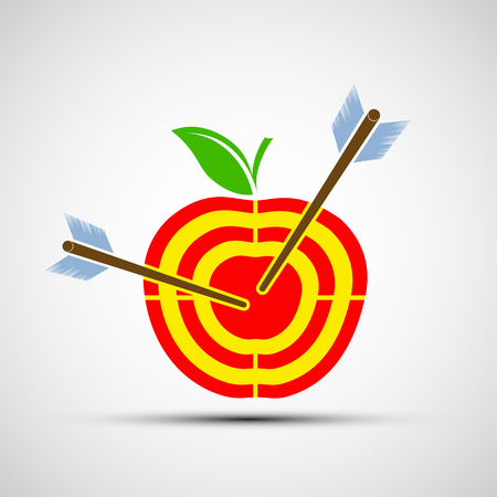 pomme rouge: Target in the form of an apple. Icon image. Stock vector illustrations.