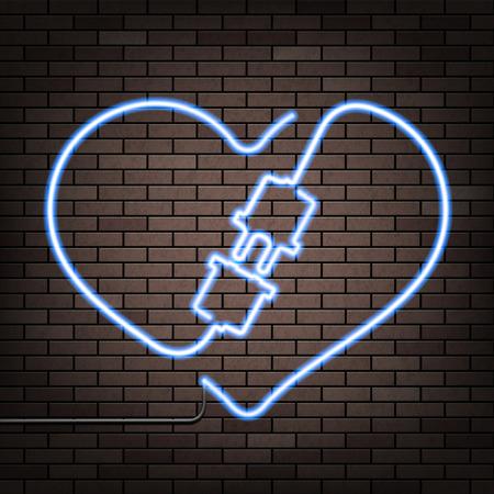 advertising logo: Neon heart on a brick wall. Stock vector illustration.