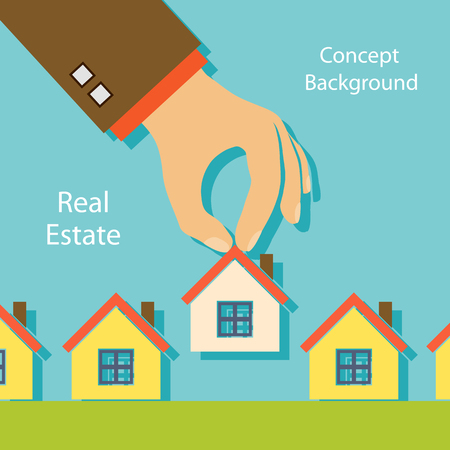 property for sale: Human hand holding a house. Real estate. Property For Sale. Stock vector illustration. Illustration