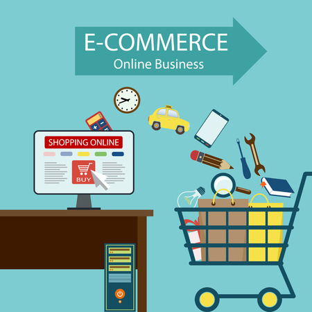 buying stock: E-commerce. Online business. Buying goods on the Internet. Stock vector illustration.