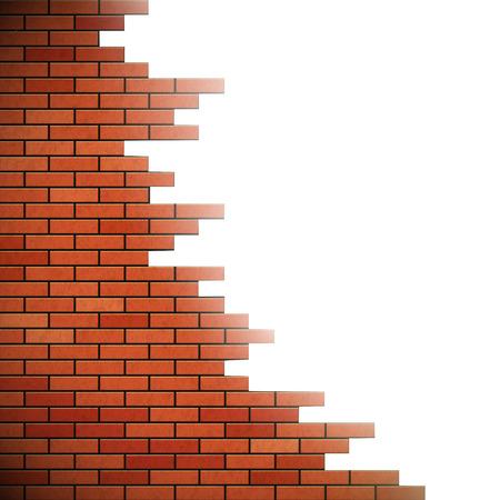 pared rota: Pared de ladrillo rojo. Agujero en la pared. Ilustración vectorial material. Vectores