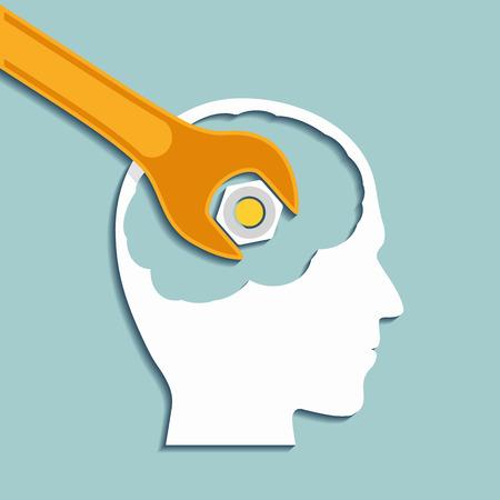 Menschlicher Kopf und einem Schraubenschlüssel. Psychische Gesundheit. Flache Grafiken. Vektor Stock Illustration.
