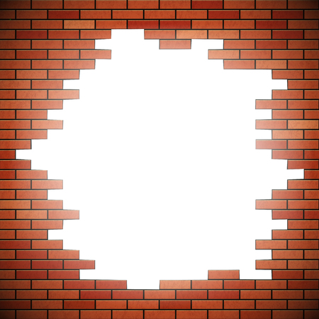 red brick wall: White hole in red brick wall. Stock vector illustration.