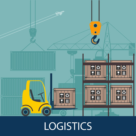 packer: Forklifts in the warehouse. Logistics. Flat graphics. Vector Stock illustration. Illustration