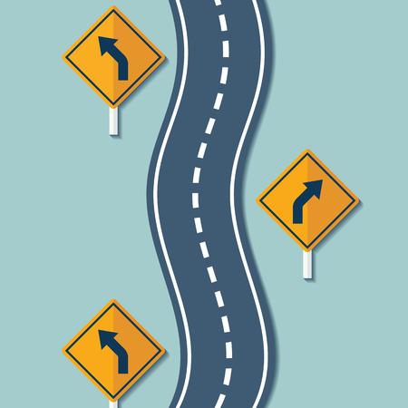 도로 및 경고 표지판을 권선. 평면 그래픽. 벡터 스톡 그림입니다. 일러스트