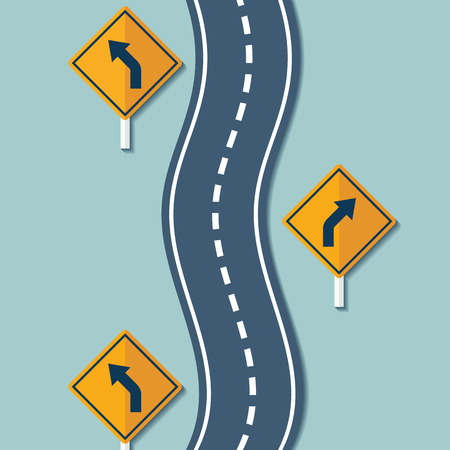 Winding road and warning signs. Flat graphics. Vector Stock illustration.