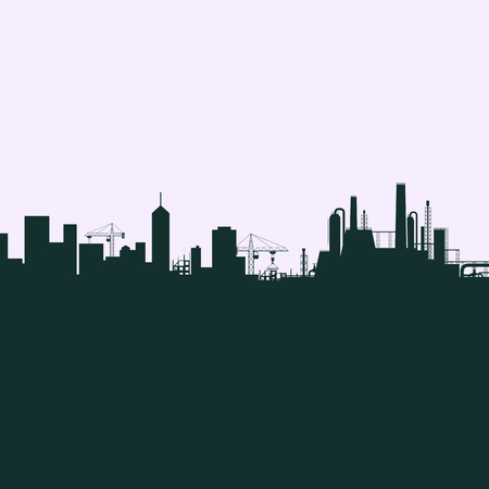 illustration industry: Silhouette of the city. Houses, skyscrapers and industry. Vector Stock illustration.