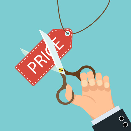 Human Hand die Schere und schneiden Sie das Preisschild. Vektor-Illustration. Vektorgrafik