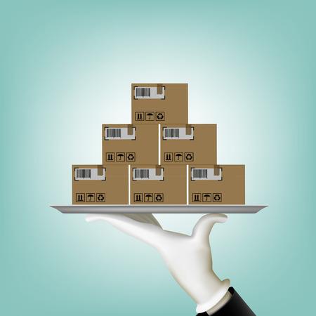 El hombre lleva una caja en una bandeja. Ilustración vectorial material.