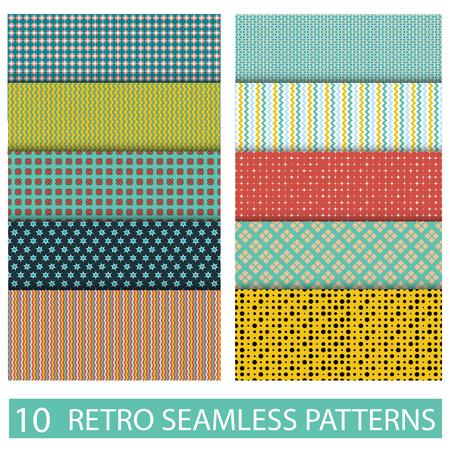 vector set: Set of seamless retro patterns. Stock vector illustration.