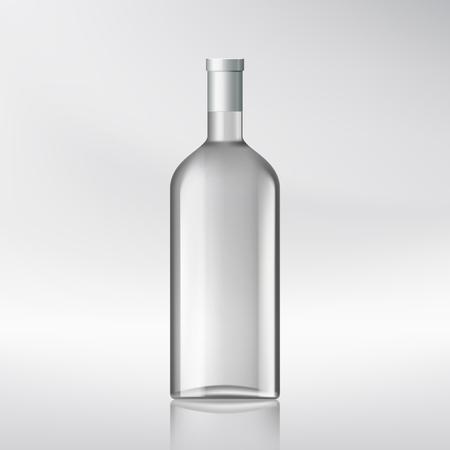 distill: Glass transparent bottle with alcohol. Stock vector illustration. Illustration