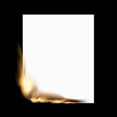 Burning white sheet of paper isolated on a black background. Stock vector illustration.