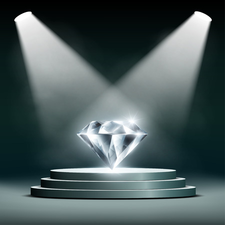 Diamond on pedestal lighting spotlights. Stock vector illustration.