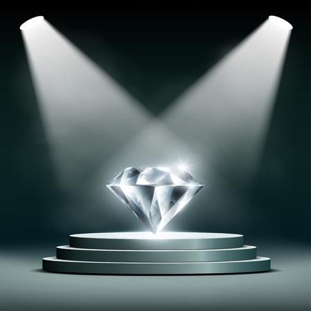 adamant: Diamond on pedestal lighting spotlights. Stock vector illustration. Illustration