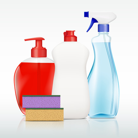 Set of containers with detergent for cleaning. Stock vector illustration.