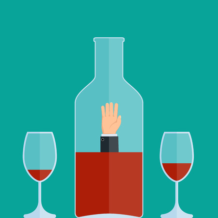 Alcohol addiction. Man drowns in a bottle of wine. Stock vector illustration.