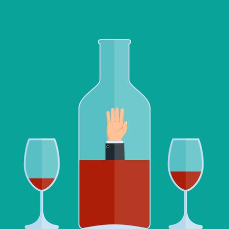 Alkoholabhängigkeit. Man ertrinkt in einer Flasche Wein. Vektor-Illustration.