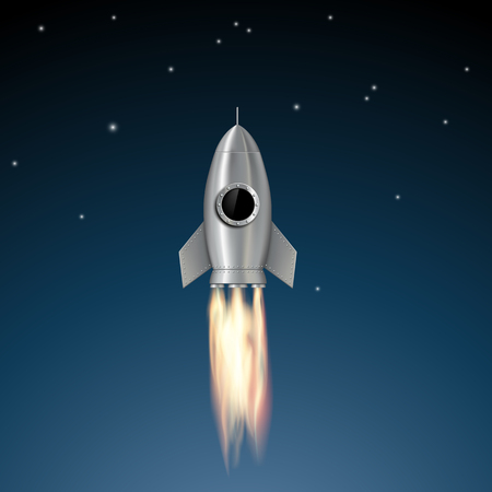 blast off: Metal rocket soars into the sky. Stock vector illustration.