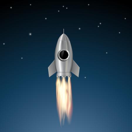 blast off: Metal rocket soars into the sky. Stock vector illustration.