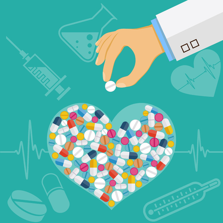 Human heart consists of tablets and pills. Stock vector illustration.