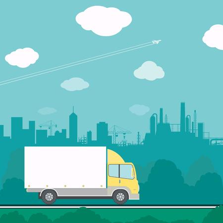szállítás: Teherautó vezetés az úton. Áruszállítás. Stock vektoros illusztráció. Illusztráció