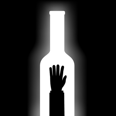 Man drowns in a bottle with alcohol. Stock vector illustration.