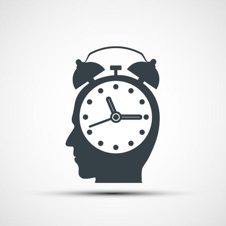 tête humaine sous la forme d'un réveil. Stock illustration vectorielle.