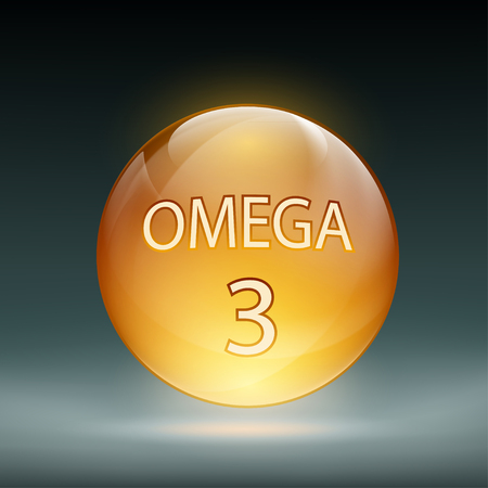 omega 3: Icon capsule Omega 3. Stock vector illustration.