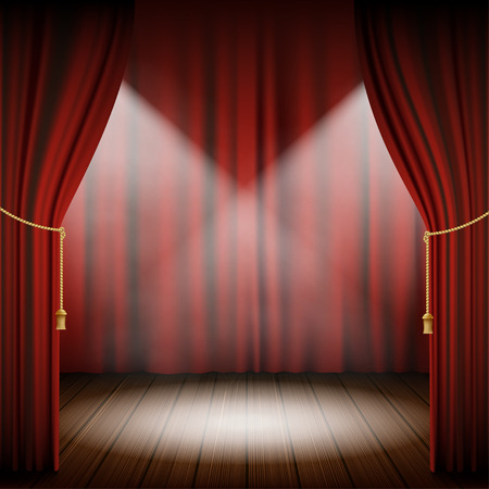 wooden floor: Theatrical scene with red curtains and wooden floor. Stock vector illustration.