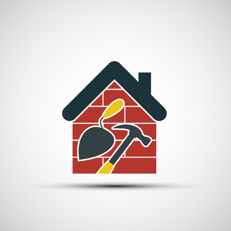 bricklayer: Icon Construction. Building tools and home. Stock vector illustration.