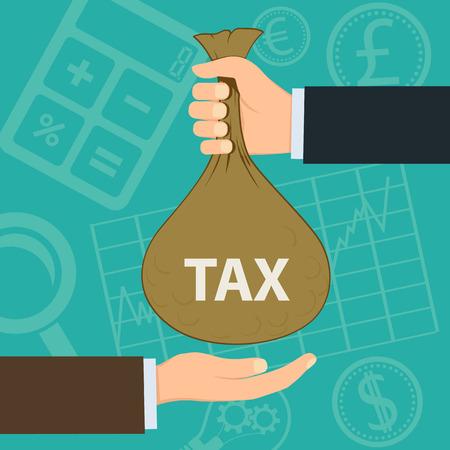 segurar: Homem que prende um saco com dinheiro. Pagamento do imposto. Ilustração Banco de vetores. Ilustração