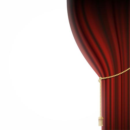 velvet: Red velvet curtain and spotlights. Stock vector illustration.