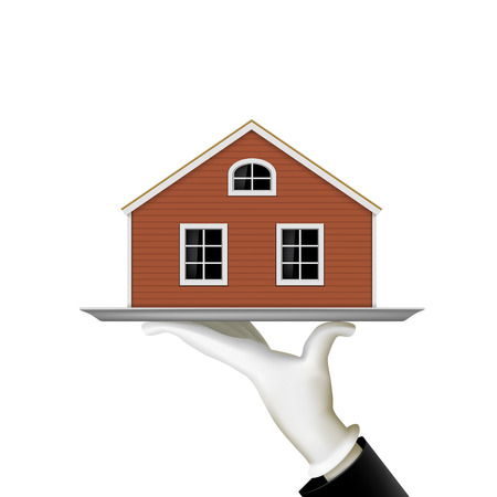 home finances: Human hand holding a tray with a house. Real estate. Stock vector illustration. Illustration
