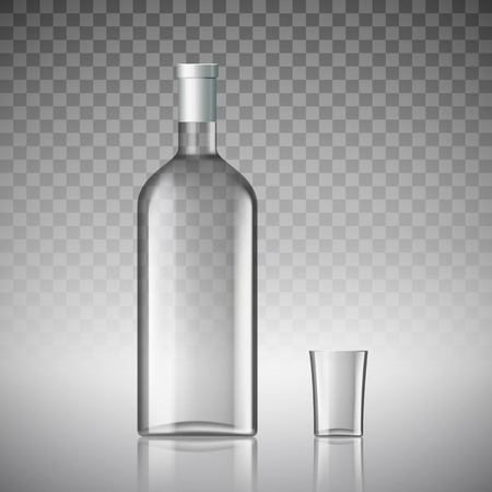 Transparante fles wodka en een glas. Stock vector illustratie.