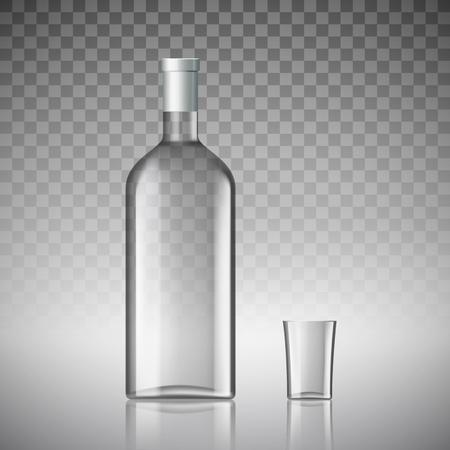 distill: Transparent bottle of vodka and a glass. Stock vector illustration.