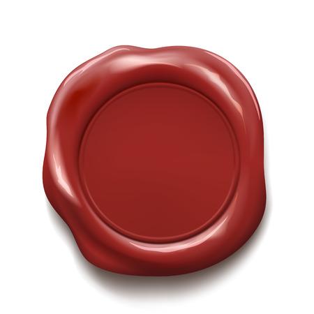 sello de cera roja aislada sobre fondo blanco. Ilustración vectorial material. Ilustración de vector