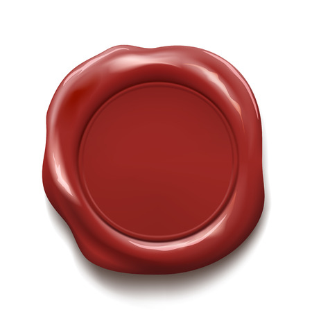Red wax seal isolated on white background. Stock vector illustration.