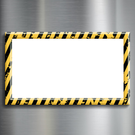 metal plate: Metal plate with warning stripes. Construction background. Stock vector illustration.