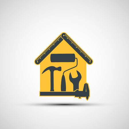 Icon Construction and measuring tools. Real estate. Stock vector illustration.