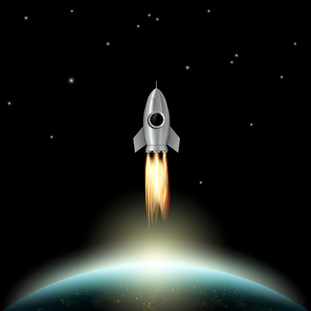 takeoff: Rocket flies into outer space. Scientific background. Stock vector illustration.