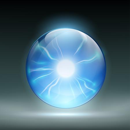 soothsayer: Vidrio bola de cristal para predecir. Las descargas estáticas. Ilustración vectorial material.