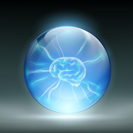 Menselijke hersenen in een glazen bol. Stock vector illustratie.