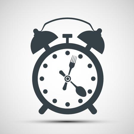 reloj despertador icono con un tenedor y una cuchara. Ilustración vectorial material.