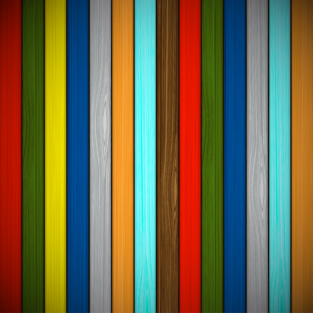 sawn: Wooden background of multicolored boards. Stock vector illustration. Illustration
