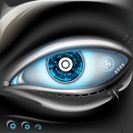 futuristic eye: Eye of metal robot. Futuristic interface. Stock vector illustration.