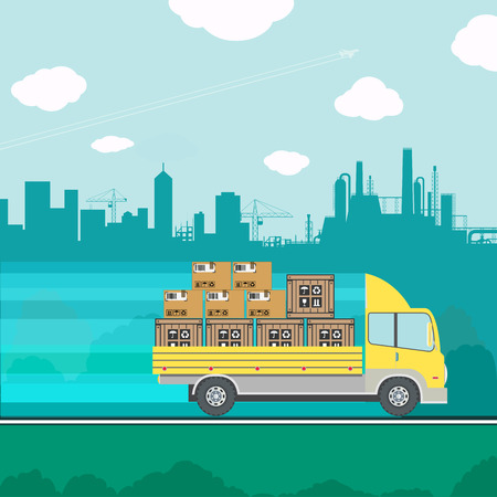 transporting: Truck transporting containers and boxes. cargo delivery. Stock vector illustration. Illustration