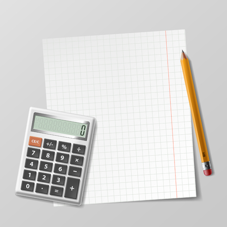 financial advisors: Calculator, sheet of paper and pencil lie on the table. Stock vector illustration.
